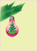 Branch of new years tree with toy.decoration bulb. — Stock Photo