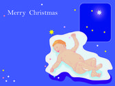 Merry Christmas,Christmas card,baby Christ, sleeping baby, — Stock Photo