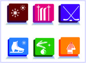 Winter sport icons,new year sport icons. — Stock Photo