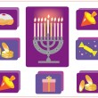 Hanukkah.Jewish religious holiday.icons with symbol of Hanukkah. — Foto de Stock