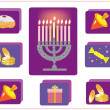 Hanukkah.Jewish religious holiday.icons with symbol of Hanukkah. — 图库照片