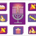 Hanukkah.Jewish religious holiday.icons with symbol of Hanukkah. — Stock Photo