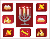 Hanukkah.jewish religious holiay,icons with symbol of hanukkah. — Stock Photo