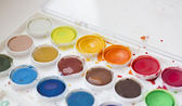 Used watercolor paint set — Stock Photo