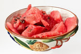 Basin with watermelon slices — Stock Photo