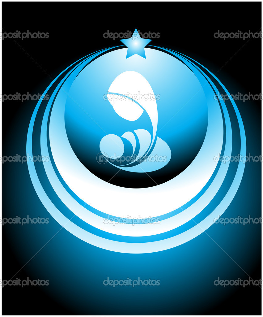 Symbol consisting of the Virgin Mary the Infant Jesus and the star of Bethlehem — Stock Vector #6899009
