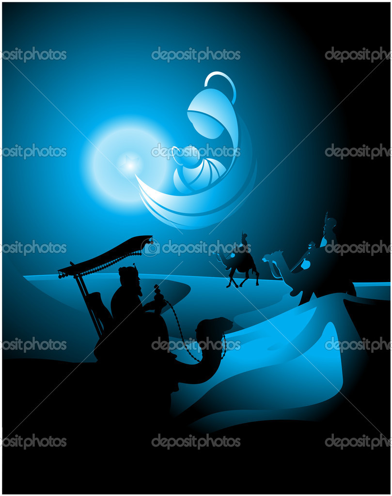 Belen star shapes the icon of the Nativity and guide in his journey to the Three Kings — Stock Vector #6899059