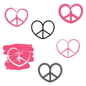 Vector set of anarchy hearts — Stock Vector