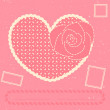 Vector card with heart, rose and three postage stamps — Stock Vector #7816875