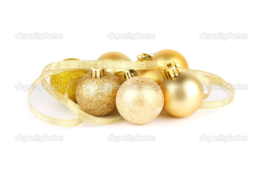 Christmas ball and golden ribbon on a white background — Stock Photo #7620658