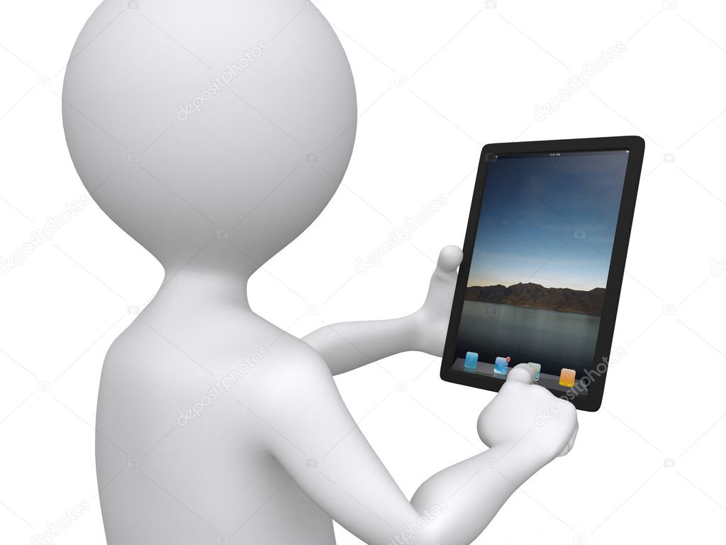 3d communication, little human character with his touch pad — Stock Photo #6792579