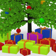 Christmas gifts under decorated Christmas tree — Stock Photo