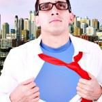 Stylized superhero businessman — Stock Photo