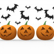 Halloween pumpkin & bats on white background — Stock Photo #6978397
