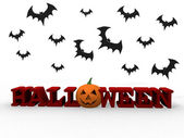 Halloween letters with pumpkin and bats — Stock Photo