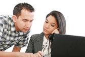 Biznes kobieta doradztwo pracy dla młodego człowieka — Zdjęcie stockowe