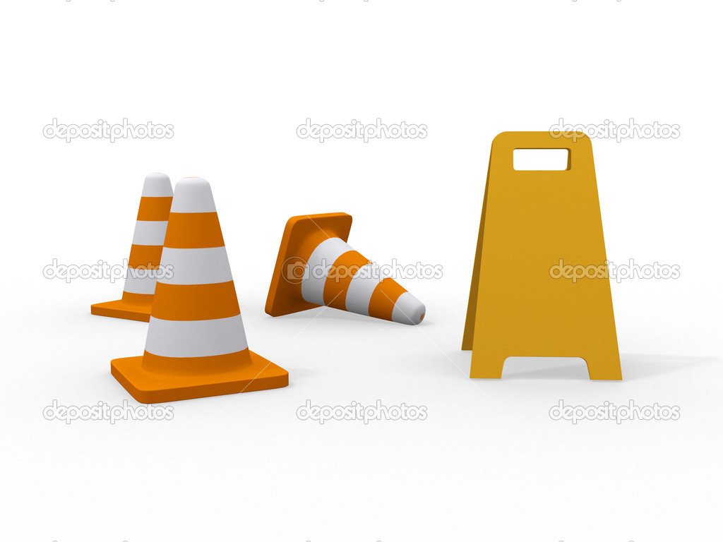 3d illustration of traffic cone knock over on white background  — Stock Photo #6990827