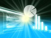 Gráficos circulares, barras y líneas, empresas gráficas mostrando rendimiento y — Foto de Stock