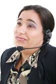 Bored customer service operator on a white background — ストック写真
