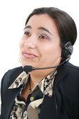 Operador de servicio al cliente aburrido sobre un fondo blanco — Foto de Stock