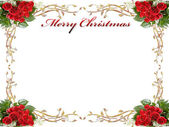 Christmas background with roses and leaves — Stock Photo