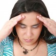 Suffering from pain - young woman with headache — Stock Photo