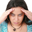Suffering from pain - young woman with headache — Stockfoto