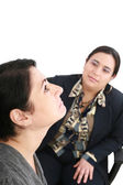 Psychologist or psychiatrist listening to patient — Stockfoto