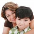 Portrait of a mom with her son on a white — Stockfoto