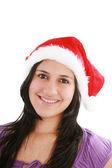 Beautiful christmas woman in santa hat — Stock Photo