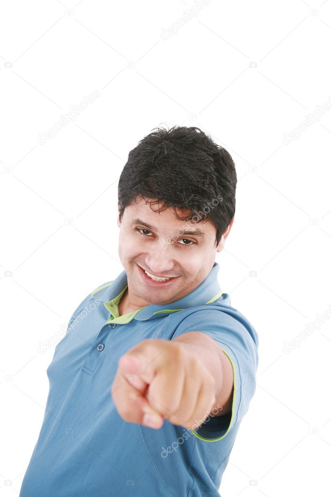 Isolated hispanic businessman pointing towards the camera — Stock Photo #7589105