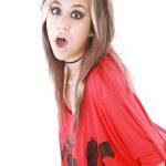 Shocked trendy teenage girl posing mouth open — Stock Photo