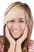美しい女の子笑顔 - 白色の背景上の分離 — ストック写真