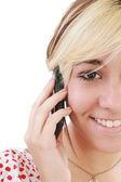 Beautiful elegant woman chatting on mobile phone, smiling — Stock Photo