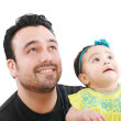 Happy father with his little baby girl looking up — Stock Photo #7707927
