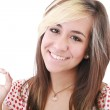 Bright picture of lovely teenage girl showing ok sign — Stock Photo