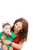 Mother and daughter on first christmas together — Stock Photo