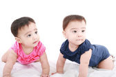 Two twin babies, girls — Stock Photo