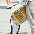 Drummer playing snare drums in parade, copy space, vertical — Stock Photo #7751810