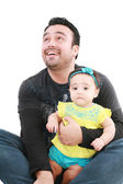 Happy and smiling baby and father. The baby 8 month old. Isolate — Stock Photo