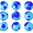 Collection of earth globes end. — Stock Photo