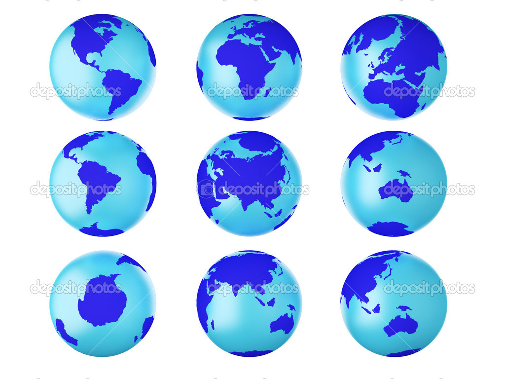Collection of earth globes end. — Stock Photo #7894232