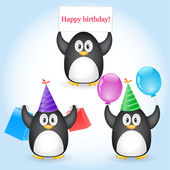 Penguin with greeting — Vector de stock