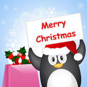 Christmas penguin — Stock vektor
