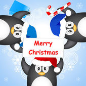 Christmas penguin — Vector de stock