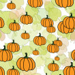Pumpkins and leaves — Stock Photo