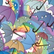 Rainy rainbows and umbrellas — Stock Photo