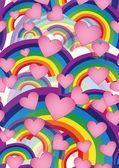 Rainbows and hearts — Stock Photo
