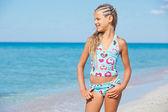 Happy beautiful girl and sea — Foto Stock