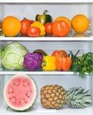 Refrigerator full of healthy eating — Stock Photo